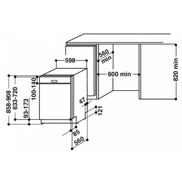 ظرفشویی توکار LLD 8M121 X EU آریستون b